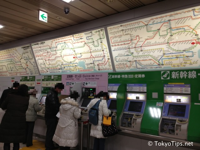 Automatic Ticket Vending Machines and Train Maps at Tokyo Station