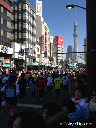 Tokyo Marathon 2013. Tokyo Sky Tree was visible when runners turned to the right.