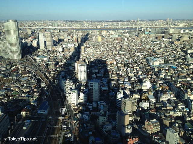 Tokyo city and long shadow of Tokyo Sky Tree