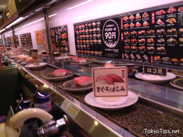 Many kinds of sushi come continuously.