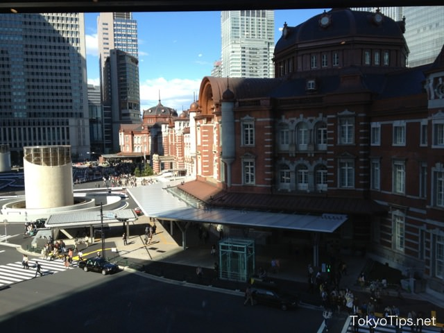 Tokyo Station was visible through a window. Tokyo Station is neighbor building of JP Tower.