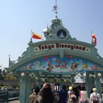 A decoration on a pedestrian overpass to Tokyo Disneyland. Visitors gradually get into high spirits.