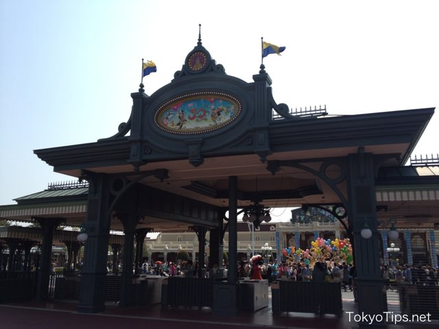 Entrance gates of Tokyo Disneyland. Inside was very crowded.