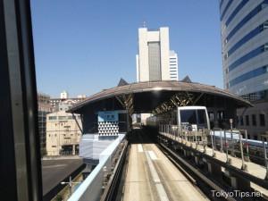 Yurikamome stops at Takeshiba Station.